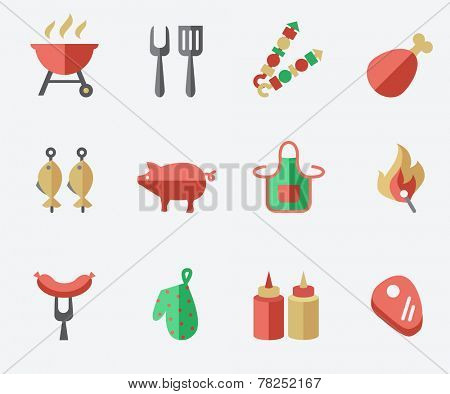Barbecue and grill icon set, flat design