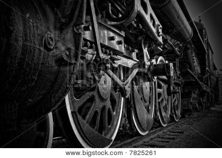 Close-up Of Steam Train Wheels