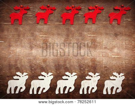 Vintage Christmas Background, Moose On Wooden Background.