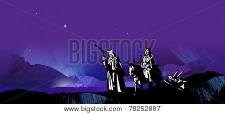 Graphic Background of Holy Christmas Travelers and starry night