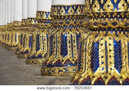 Columns of the Phra Mahathat Vihan in Nakhon Sri Thammarat, Thailand.