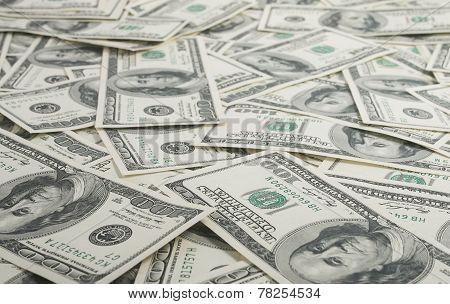 American Dollars Pile As Background