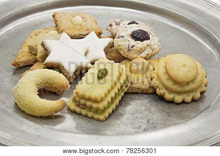Selection of Christmas cookies on a tin plate