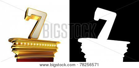 Number Seven on a golden platform with brilliant lights over white background with alpha map