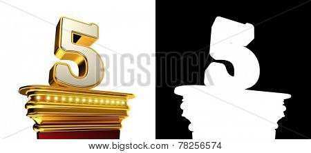 Number Five on a golden platform with brilliant lights over white background with alpha map