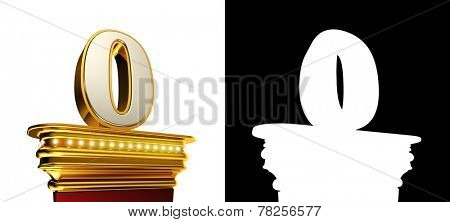 Number Zero on a golden platform with brilliant lights over white background with alpha map
