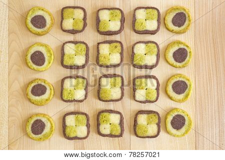 Christmas cookies arranged on a wooden surface