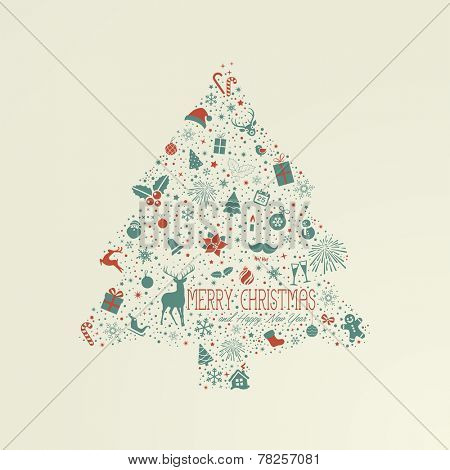 Holiday card, Christmas tree from design elements