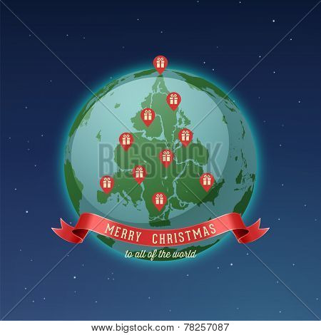 Holiday Greeting Card, Merry Christmas to all of the world, all continents and landmasses fit together forming Christmas tree, while gps pins locating gift boxes represents red Christmas ornaments.