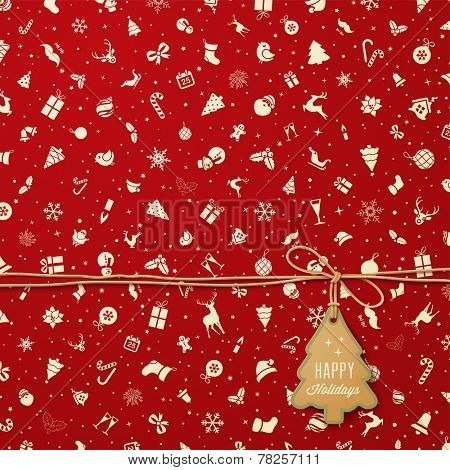 Holiday  Pattern  with Christmas tree tag