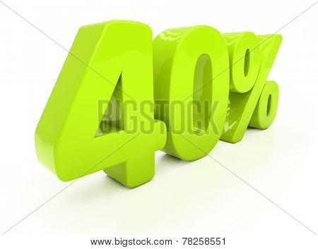 Forty percent off. Discount 40.  Percentage. 3D illustration
