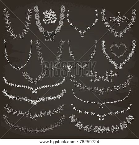 Hand-Drawn Floral Wreaths, Laurels