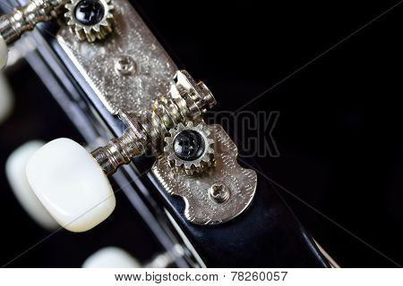 Tuning machine head and peg of an acoustic guitar