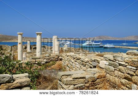 Archaeological site on island of Delos, Greece