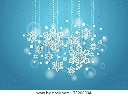 Winter Beautiful Background with Snow Flakes Hanging Pattern