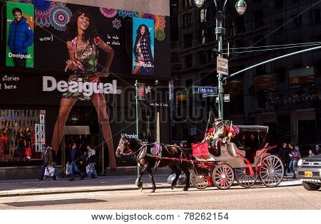 NEW YORK CITY Horse drawn carriage on Fifth Ave NYC
