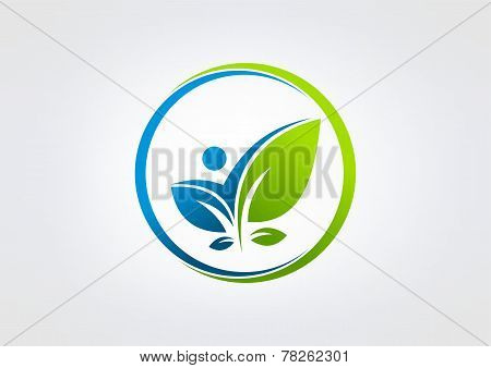 body leaf health vector logo design