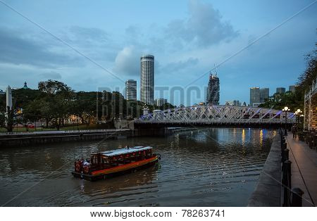 Evening View Of The Singapore Rive