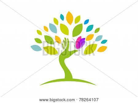woman healthy tree vector logo design