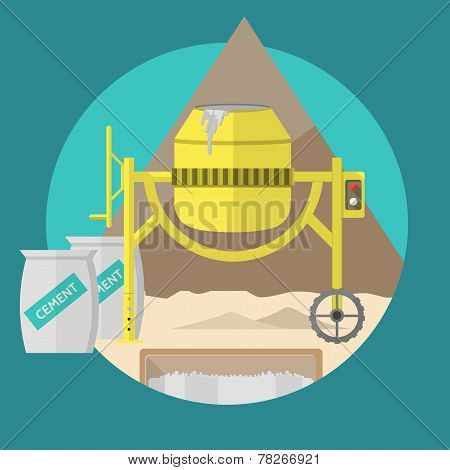 Flat vector illustration for construction site. Concrete mixer