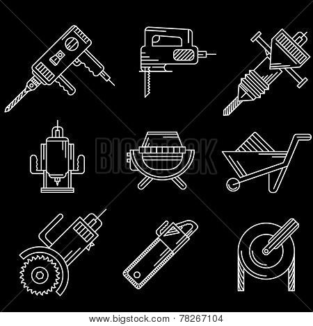 White outline vector icons for construction equipment