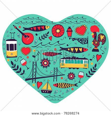 Travel concept card. Illustration of love for Lisbon - heart with vector icons.
