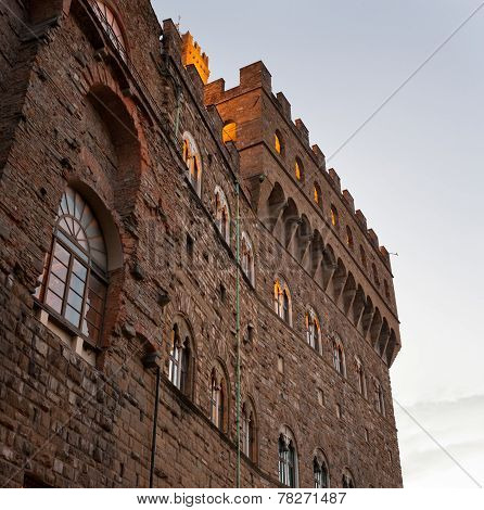 Detail Of The Old Palace At Evening, Florence