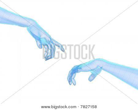 3D Hände Drahtmodell