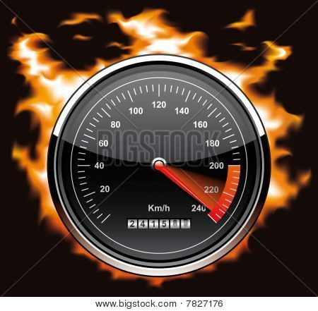 Speedometer involved in flames
