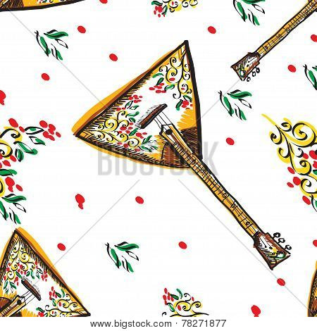 Vector russian balalaika seamless with colourful ornament.