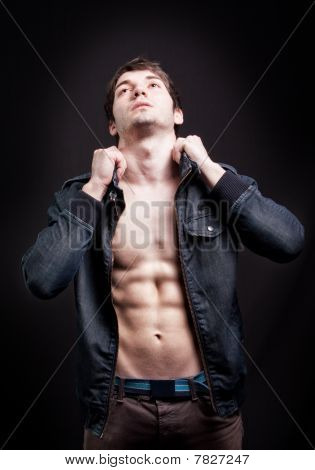 Fashion Shot Of Sexy Man With Fit Abs