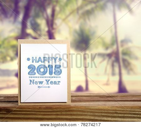 Happy New Year 2015 Message With Palm Trees