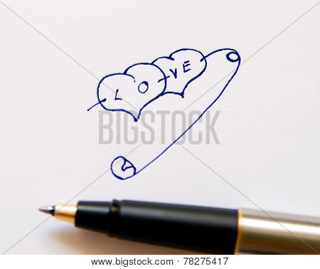 Hearts Drawn On Paper