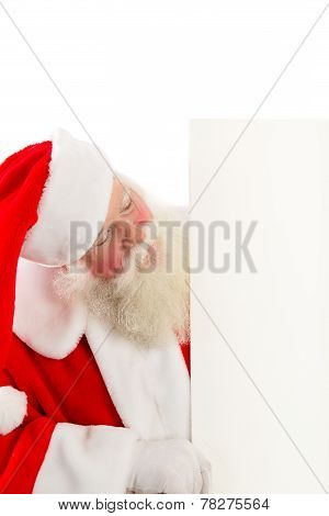 Santa With A Sign To The Side