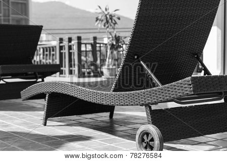 Brown Rattan Reclining Chair