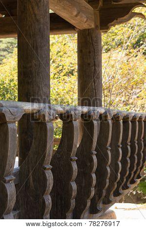 Closeup Of Korean Wooden Banister