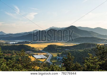 Layers Of Mountain In Korea