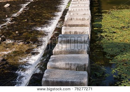 Stepping Stones Cross Over A Stream