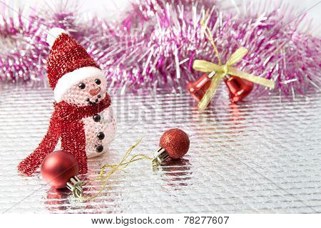 Snowman On Glitter And Red Light