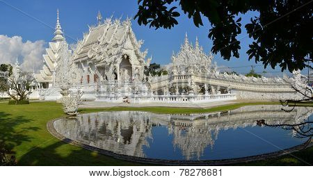 Beautiful white temple in Chiang Rai, Thailand