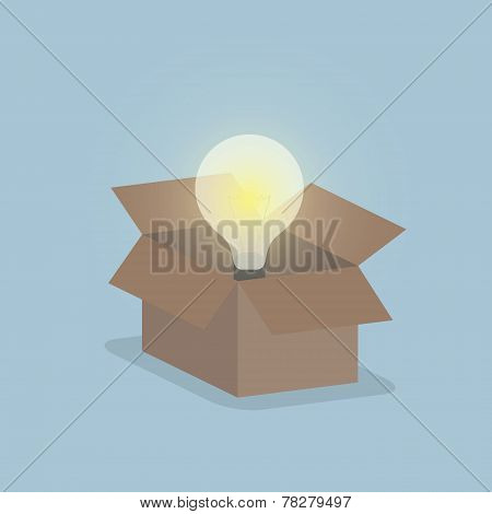 Glowing Light Bulb Float Over Opened Box, Thinking Outside The Box Concept