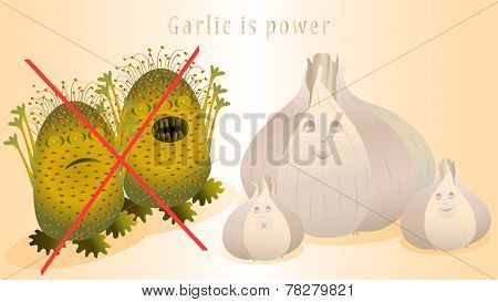Illustration of microbes and garlics