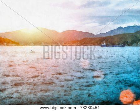 Watercolor landscape. Sailboat at Sea quiet summer evening