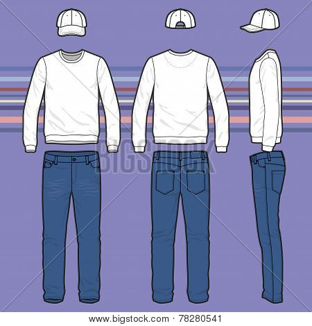 Sweatshirt, Cap And Jeans Set