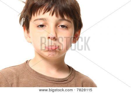 Seven Year Old Boy Looking Sad