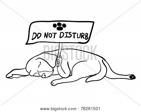 Sleeping Dog Holding Do Not Disturb Board