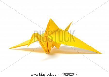 Yellow origami crane