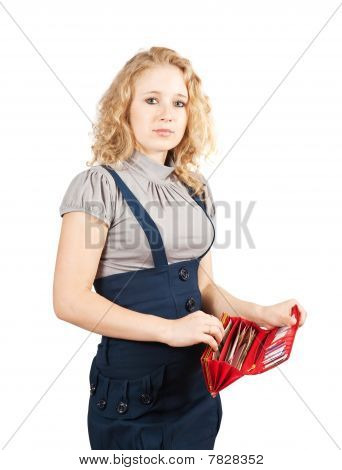 Woman With Red Wallet