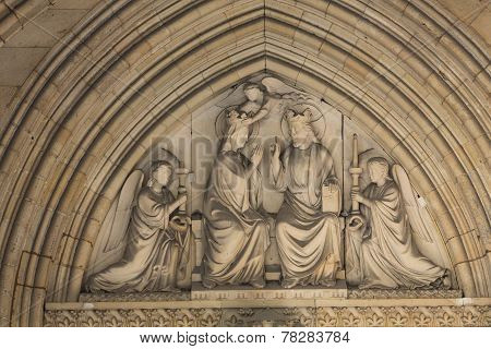 Paris - Mary's coronation Tympanum of the Sainte Chapelle built in 1239 in Ile de la Cite