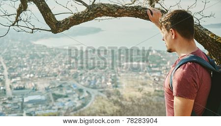 Traveler Man Looking At The City
